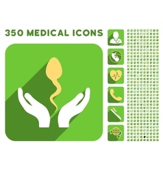 Sperm Care Hands Icon and Medical Longshadow Icon vector image