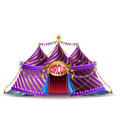 Striped circus tent for performances vector