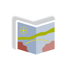 Stylish icon in paper sticker style tourist map vector