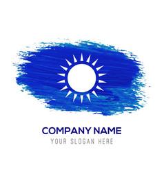 Sun icon - blue watercolor background vector