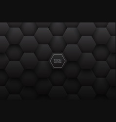 Tech 3d hexagonal structure pattern black vector