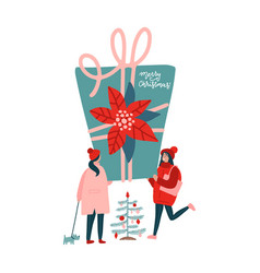 tiny women holding big gift box christmas present vector image
