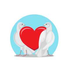 Two doves stands red heart symbols of eternal love vector