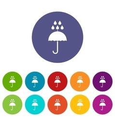 Umbrella and rain drops set icons vector image