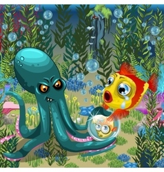 Underwater landscape octopus with goldfish vector