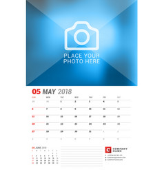 wall calendar planner for 2018 year may print vector image vector image