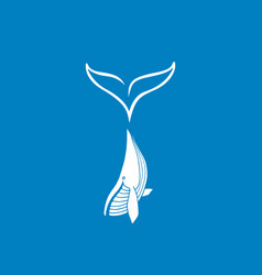 White whale with big tail logotype vector