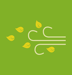 wind with leafs icon in flat style isolated on vector image