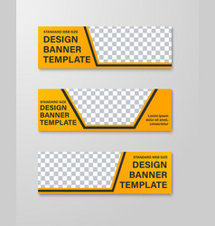 yellow web banner templates with place for photo vector image