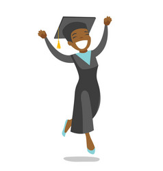 Young cheerful african-american graduate jumping vector
