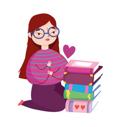 Young woman on knees with stack books book vector