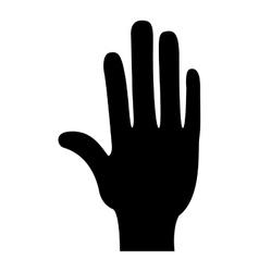 Black silhouette hand open icon vector