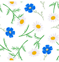 daisy and forget-me-not seamless pattern vector image vector image