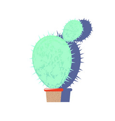 Textured cactus flat on white vector
