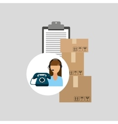 Call centre woman working clipboard cardboard box vector