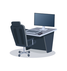 desk with computer and chair vector image