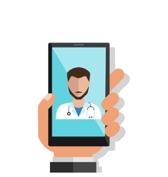 Hand holding smartphone with male doctor on call vector image vector image