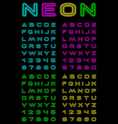 neon color font vector image vector image