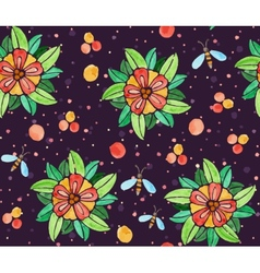 Seamless watercolor pattern with flowers vector image