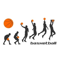 Set different poses basketball players in vector image