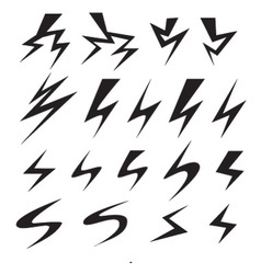 set of power and Lightning bolt icon vector image