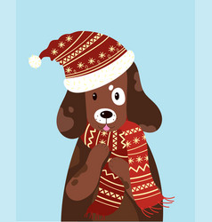 a dog in a hat and scarf vector image vector image