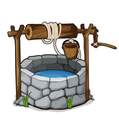 brick well with blue water and wooden bucket vector image vector image