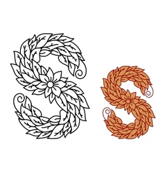 Floral and foliate font uppercase letter s vector