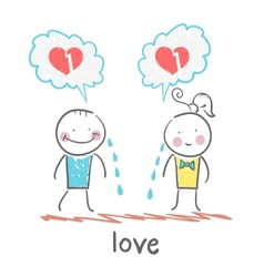 Girl and guy cry thinking about lost love vector