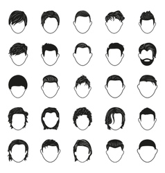 male hairstyle black simple icons set vector image vector image