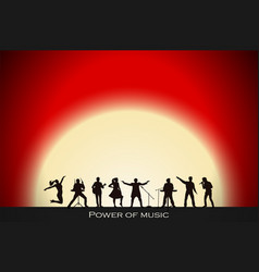 band show on red sunset background festival vector image vector image