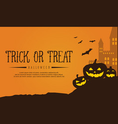 castle and pumpkin background for halloween vector image