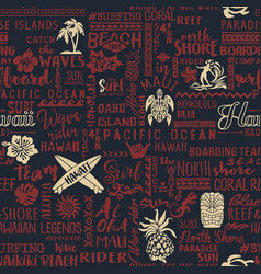classic surfing hawaiian islands wallpaper vector image vector image