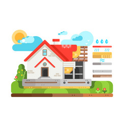 construction of private house in section vector image vector image