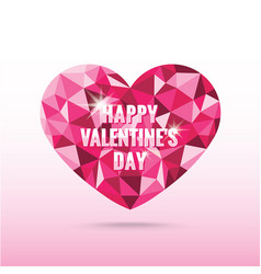 polygonal pink heart valentines day with shadow vector image