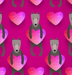 romantic seamless pattern with hearts and dogs vector image
