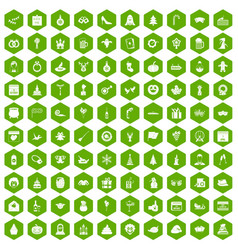 100 holidays icons hexagon green vector image