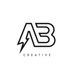 Ab letter logo design with lighting thunder bolt vector