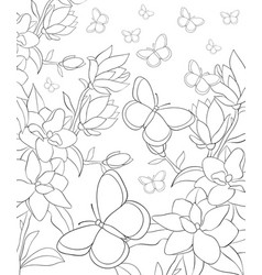 Adult coloring bookpage a nature landscape with vector