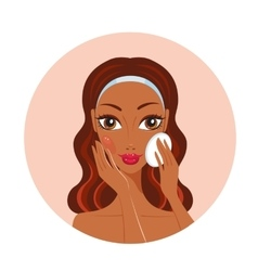 African American woman removing make up look happy vector