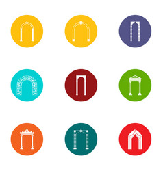 Arched path icons set flat style vector