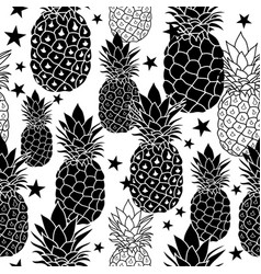 Balck and white hand drawn pineapples vector