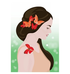 Beautiful girl with butterflies vector