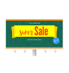 Billboard with super sale yellow banner on green vector