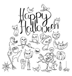Black and white halloween symbols and calligraphy vector