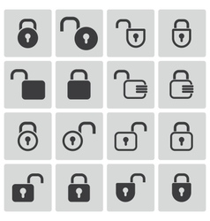 Black lock icons set vector