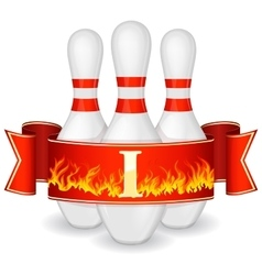 Bowling pins with ribbon vector image