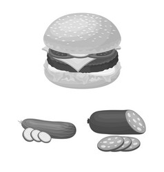 burger and ingredients monochrome icons in set vector image