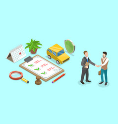 car insurance flat isometric concept vector image