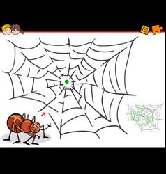 Cartoon maze activity with spider and web vector